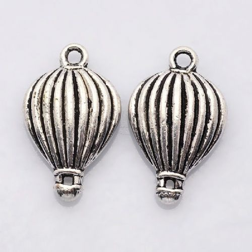 Hot Air Balloon Antique Silver Charm (Pack of 4)
